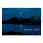 JUPITER LIGHTHOUSE SHINES BLUE GREETING CARD
