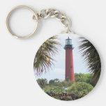 Jupiter Lighthouse through the Palms Basic Round Button Keychain