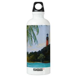 Jupiter Lighthouse with Palm Aluminum Water Bottle