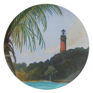 Jupiter Lighthouse with Palm Plate