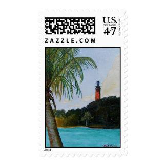 Jupiter Lighthouse with Palm Postage