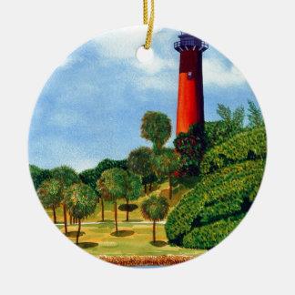 Jupiter Lighthoust II Double-Sided Ceramic Round Christmas Ornament