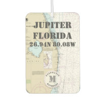 Jupiter Palm Beach Florida Nautical Chart Monogram Car Air Freshener