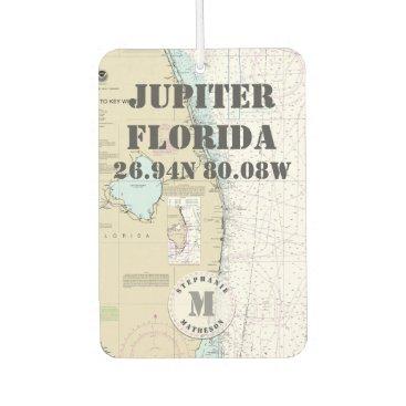 Beach Themed Jupiter Palm Beach Florida Nautical Chart Monogram Car Air Freshener