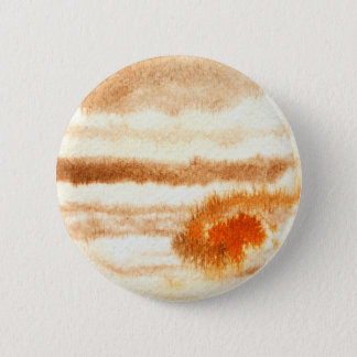 Jupiter Planet Watercolor Round Button
