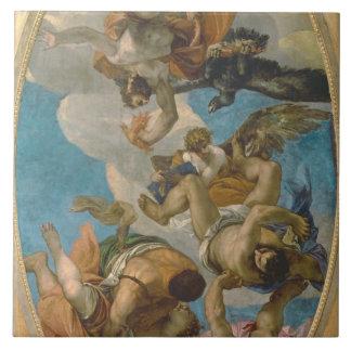 Júpiter que pega abajo de los vicios (aceite en lo azulejo cuadrado grande