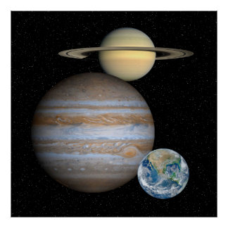 Jupiter Saturn Earth Moveable Scaleable  Poster