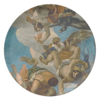 Jupiter Striking Down the Vices (oil on canvas) Dinner Plates