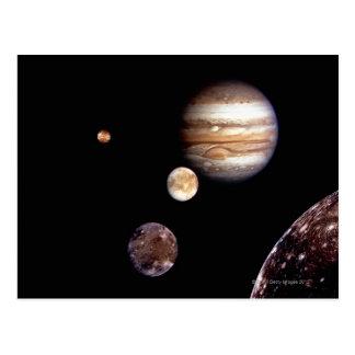 Júpiter y sus lunas postal