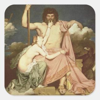 Júpiter y Thetis, 1811 Pegatina Cuadrada