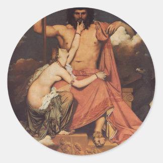 Júpiter y Thetis Pegatina Redonda