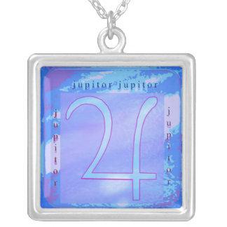 Jupitor Zodiac Symbol Square Pendant Necklace