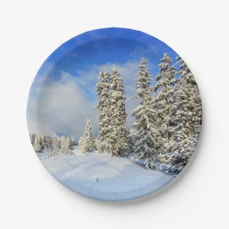 Jura mountain in winter, Switzerland Paper Plate