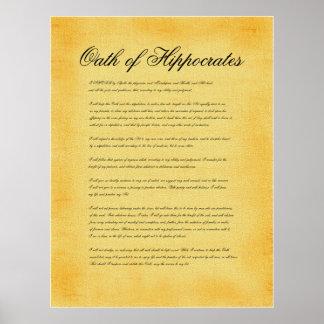 Juramento de Hipócrates, mirada del pergamino de l Posters