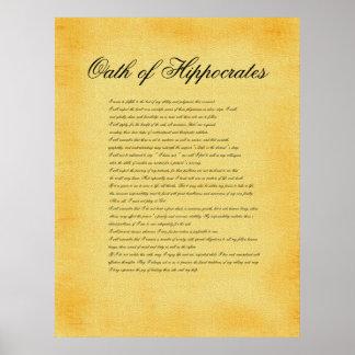 Juramento de Hipócrates mirada del pergamino de l Poster