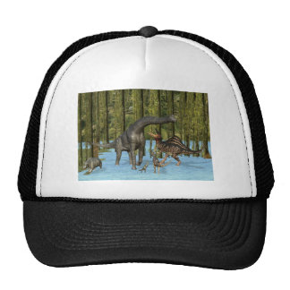 Jurassic Dinosaurs in a Mossy Swamp. Hat