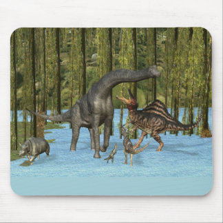 Jurassic Dinosaurs in a Mossy Swamp. Mouse Pad