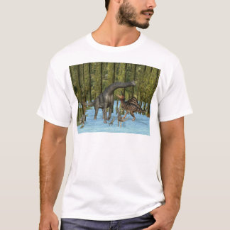 Jurassic Dinosaurs in a Mossy Swamp. T-Shirt