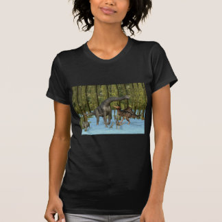 Jurassic Dinosaurs in a Mossy Swamp. Tee Shirts