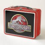 "Jurassic Park   Metal Logo Metal Lunch Box<br><div class=""desc"">This graphic features the classic Jurassic Park logo.</div>"