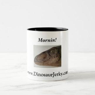 jurassic-park-velociraptor-2, www.DinosaurJerky... Two-Tone Coffee Mug