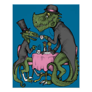 Jurassic Tea Party Poster