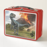 "Jurassic World | Blue Metal Lunch Box<br><div class=""desc"">The Last Raptor on Isla Nublar is not only the largest but the deadliest. Blue-So named for the iridescent stripe running down the length of her body-was special from the moment she hatched.</div>"