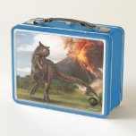 "Jurassic World | Carnotaurus Metal Lunch Box<br><div class=""desc"">An enormous Theropod that last lived during the late Cretaceous period, this &quot;Meat-Eating Bull&quot; measures almost 30 feet in length and weighs at least 1.33 tons. A ferocious, bipedal predator with tiny forelimbs, the carnotarus sports devil-like horns and can achieve speeds that make her even faster than the T.Rex-thanks to...</div>"