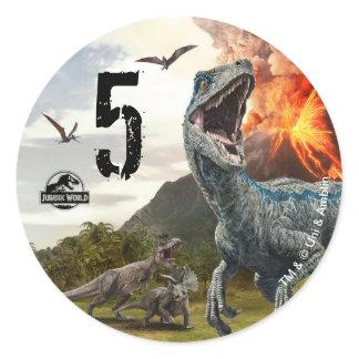 Jurassic World   Dinosaur Birthday Classic Round Sticker