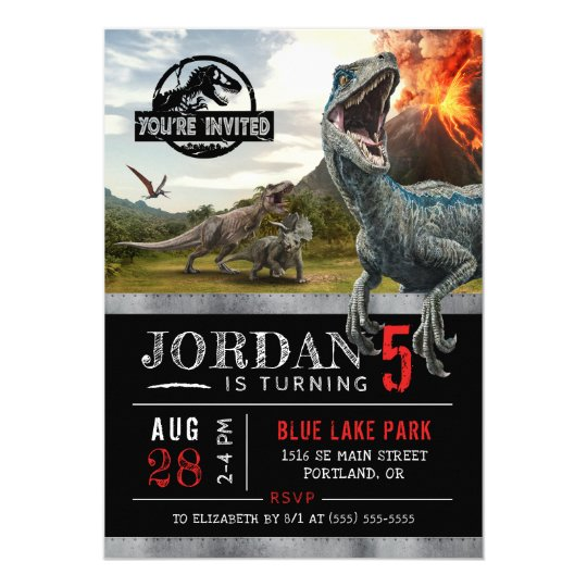 Jurassic world dinosaur birthday invitation zazzle jurassic world dinosaur birthday invitation filmwisefo