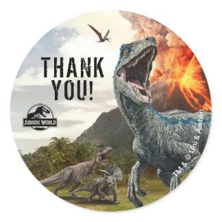 Jurassic World   Dinosaur Birthday Thank You Classic Round Sticker