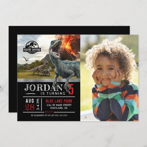 Jurassic World  Dinosaur Birthday with Photo Invitation