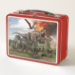 """Jurassic World Dinosaur Herd Metal Lunch Box<br><div class=""""desc"""">It&#39;s been three years since theme park and luxury resort Jurassic World was destroyed by dinosaurs out of containment. Isla Nublar now sits abandoned by humans while the surviving dinosaurs fend for themselves in the jungle.</div>"""