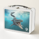 "Jurassic World | Mosasaurus Metal Lunch Box<br><div class=""desc"">An immense seagoing lizard-and not an actual dinosaur-she uses her fearsome array of teeth to catch fish, birds, and other marine reptiles. Mosasaurus's second set of teeth in an upper palate ensures any prey sliding down her throat will not be able to escape... including the mercenary soldier that T.Rex drives...</div>"