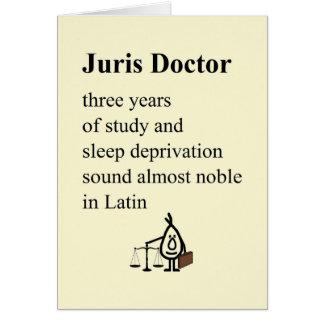 Juris Doctor - funny law grad poem (blank inside) Card