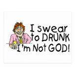 Juro no a dios borracho Im (el hombre bebido) Tarjeta Postal
