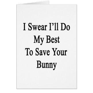 Juro que haré mi mejor para ahorrar su conejito tarjeta pequeña