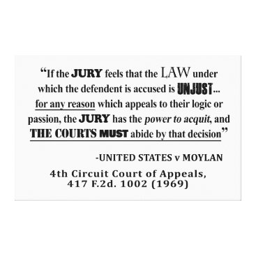 Lawyer Themed Jury Nullificaton Case Law Quote Canvas Print