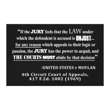 Lawyer Themed Jury Nullificaton Case Law Quote White Text Canvas Print