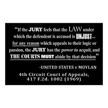 Lawyer Themed Jury Nullificaton Case Law Quote White Text Poster