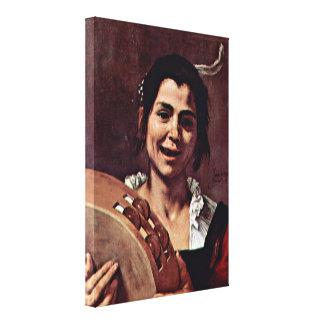 Jusepe de Ribera - Girl with Tambourine Canvas Print