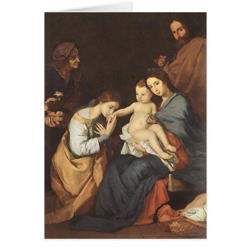 Jusepe Ribera- la familia santa con St. Catherine Felicitación