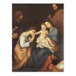 Jusepe Ribera- la familia santa con St. Catherine Postal