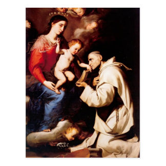 Jusepe Ribera-Madonna with Christ Child & St Bruno Postcard