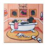"""Just 5 More Minutes Ceramic Tile<br><div class=""""desc"""">""""Just 5 More Minutes"""" depicts a Portuguese Water Dog relaxing in the tub surrounded by monogramed towels,  special soaps and a wall of self portraits. This is a picture of utter self-indulgence. Inks and colored pencils. (c)2014 Andie.</div>"""