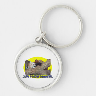 Just 5 More Minutes...Sleeping Red Panda Silver-Colored Round Keychain