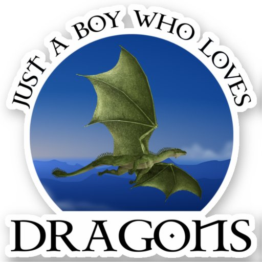 Just A Boy Who Loves Dragons Sticker