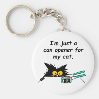JUST A CAN OPENER FOR MY CAT BASIC ROUND BUTTON KEYCHAIN