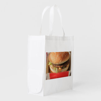 Just a classic hamburger reusable grocery bag