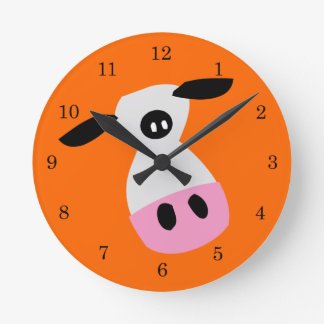Just a Cow Round Clock